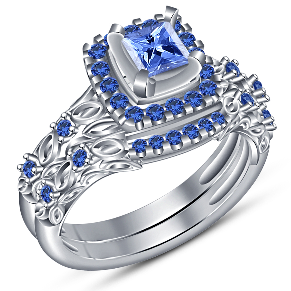 Princess Cut Blue Sapphire White Gold Plated 925 Silver Bridal Wedding Ring Set