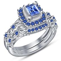 Princess Cut Blue Sapphire White Gold Plated 925 Silver Bridal Wedding Ring Set - $92.30