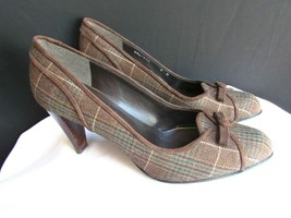 Stuart Weitzman Femme Marron Foncé Plaids Noeud Tissu Pompe Talon Chaussures 8.5 - $142.47