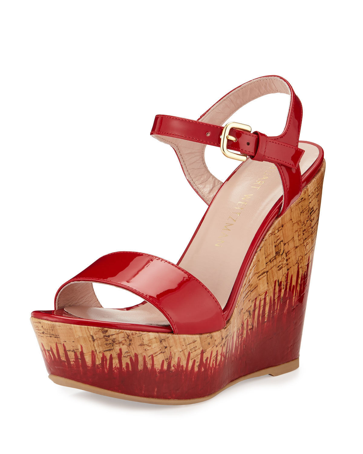 Primary image for Stuart Weitzman Single Sky Patent Cork Wedge Heel, Flame Mult Sz