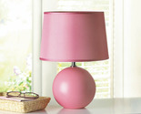 Pink Table Lamp w/ Round Ceramic Base & Matching Fabric Shade