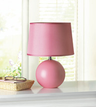 Pink Table Lamp w/ Round Ceramic Base & Matching Fabric Shade - $38.95
