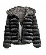 Mens Chinchilla Fur Coat with Hood Bomber Jacket Zipper Closure Reversible - $3,960.00