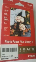 """Canon Photo Paper Plus Glossy II 4"""" X 6"""" PP201 100 Sheets 69/ 260 g/m² papel fot - $14.84"""