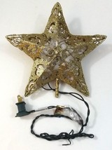Christmas Metal Star Treetop Gold With 10 Clear Mini Lights New In Box C... - $24.99