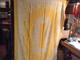 Gold Table Cloth w White Floral Pattern/Design