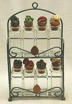 Metal Spice Rack Shonfeld's Glass Bottles Cork Top Lids Counter Top Wall... - $39.59