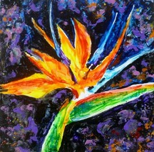 "Akimova: BIRD OF PARADISE, still life, flower,  wax painting, 12""x12"" - $25.00"