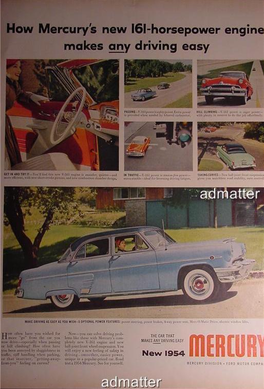 1954 Mercury Car Ad 161 horsepower Merc-O-Matic Drive