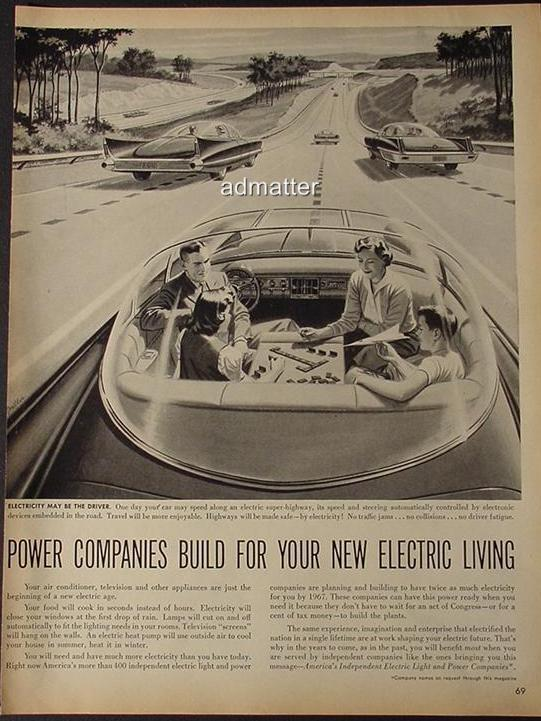 1957 America Electric Light & Power Ad Hands Free Car!