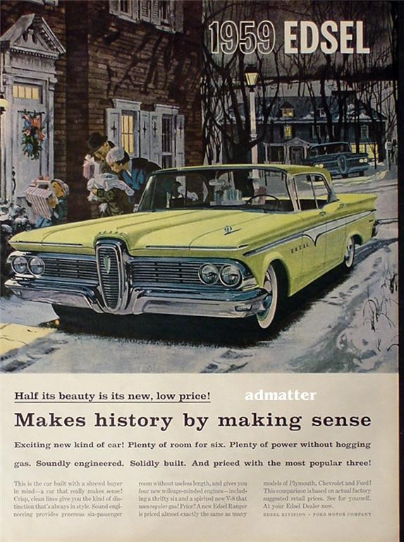 1958 Car Ad Featuring the new 1959 Edsel Ranger Awesome