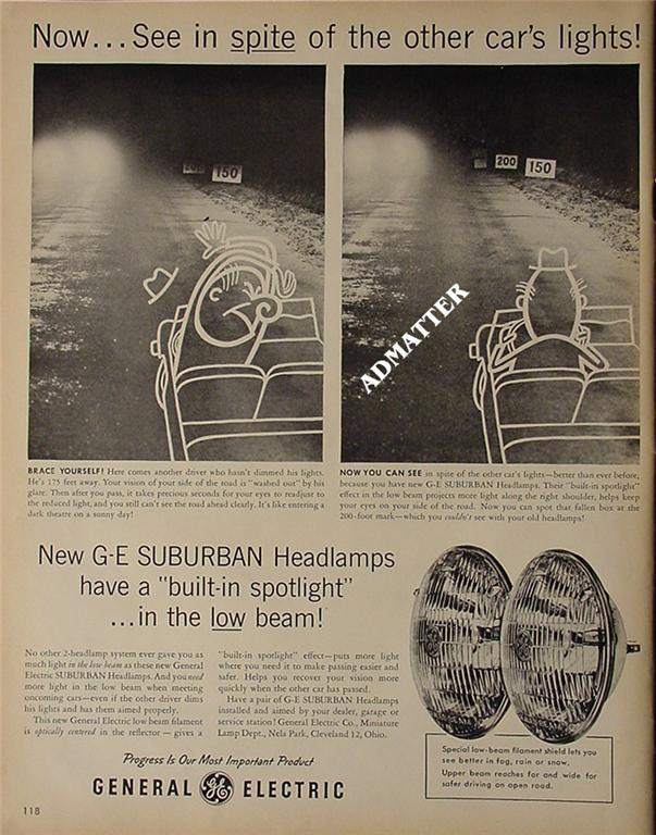 1958 General Electric Headlamp Ad Funny GE Advertising!