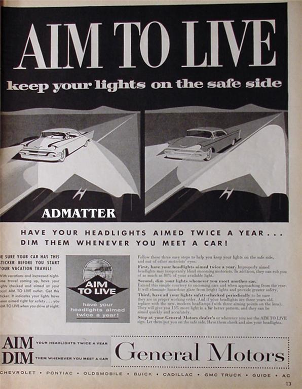 1958 General Motor Advertisement GM Aim To Live Ad