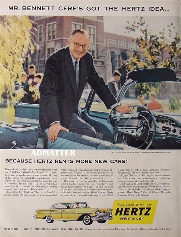 1958 Hertz Rent a Car Ad Bennett Cerf CBS Whats My Line