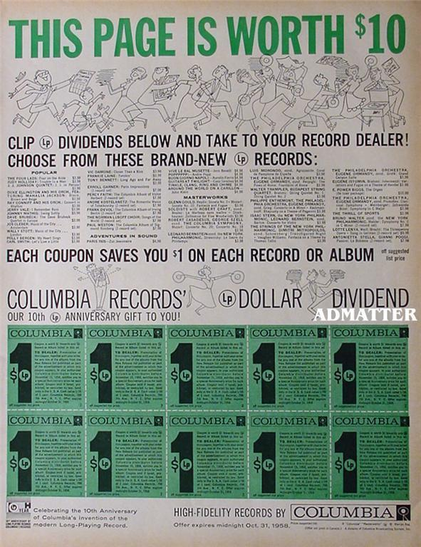 1958 Original Columbia Records Ad $10 in coupons!