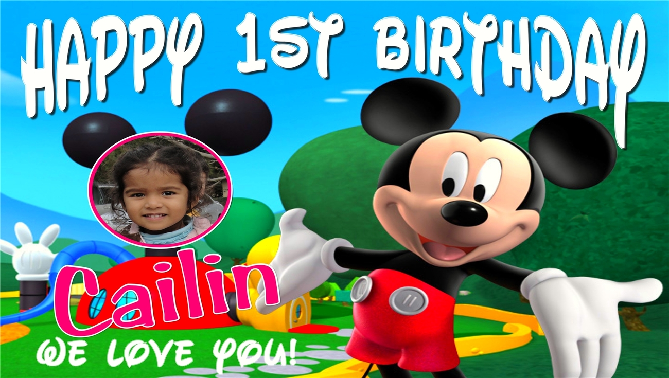 Mickey Mouse Club House Custom Birthday Banner Party Decoration w/ Photo