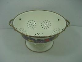 Vintage White Enamel Metal Footed Strainer Colander Fruit Design & Coppe... - $23.33