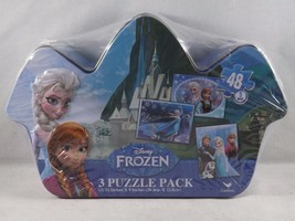 Cardinal Disney Frozen 3 Puzzle Pack in Tin - New - $14.24