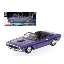 1970 Dodge Challenger R/T Convertible Purple 1/24 Diecast Model Car by M... - $27.72