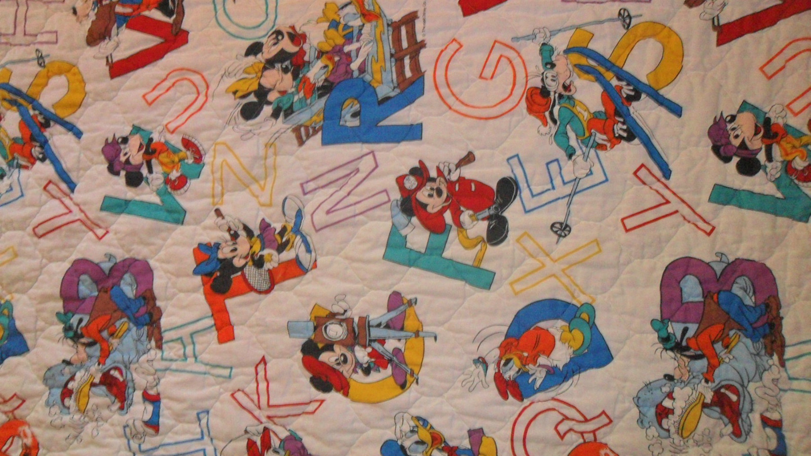 Primary image for Mickey Mouse Blanket Toddler Quilt Letters ABC White Disney Characters
