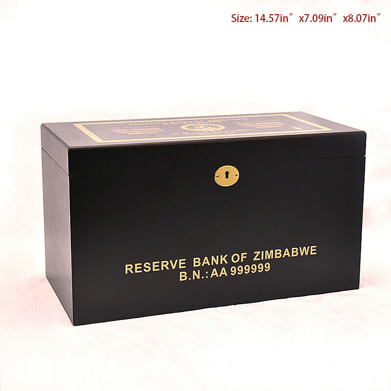 WR 1000pcs Zimbabwe 100 Quintrillion Dollars Color Gold Banknote With Wooden Box