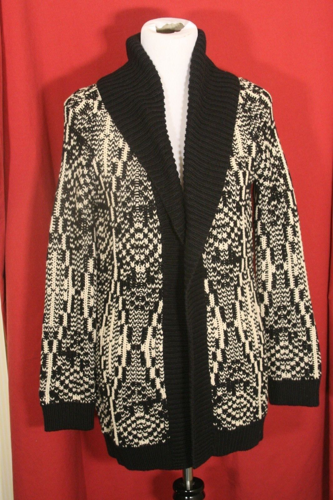 Primary image for TALBOTS WOMENS BLACK BEIGE THICK CARDIGAN SWEATER M P PETITES NWT $139