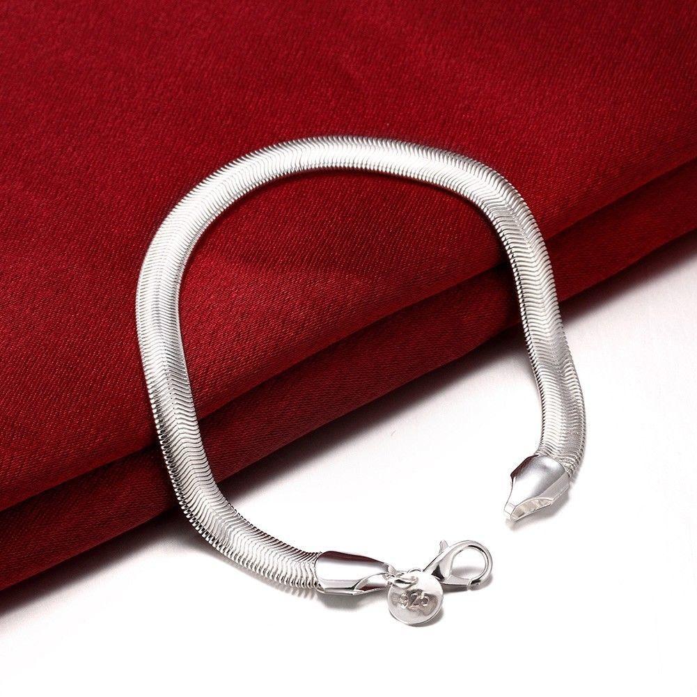 Silver Women's 6mm Snake Herringbone image 5