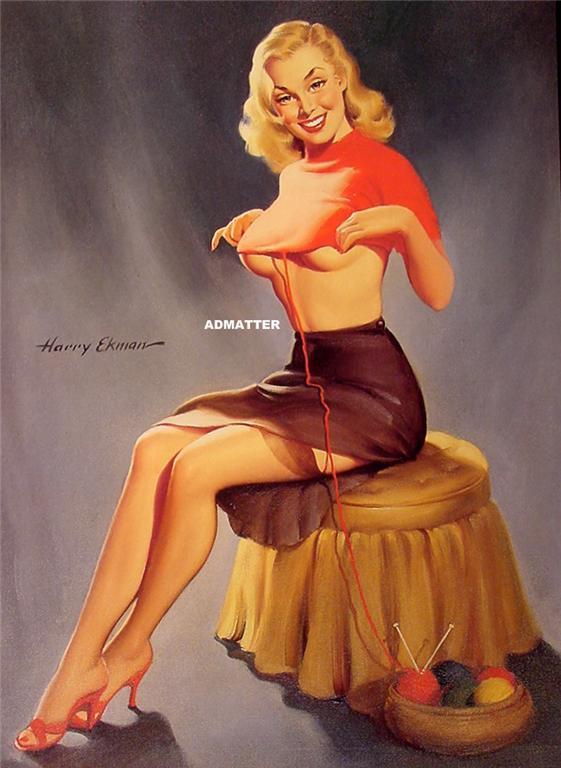 HUGE 2-sided Pinup Girl poster Elvgren Ekman INCREDIBLE