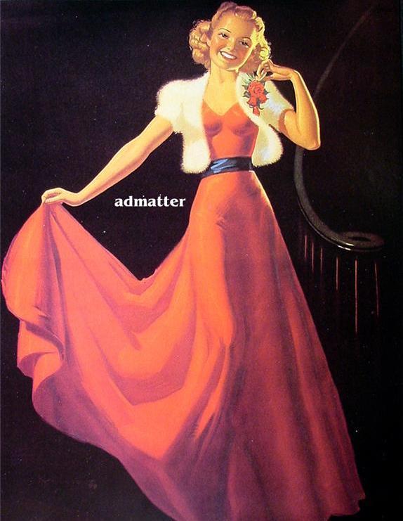 K.O. Munson Pin-up Girl Book Plate Elegant Red Dress