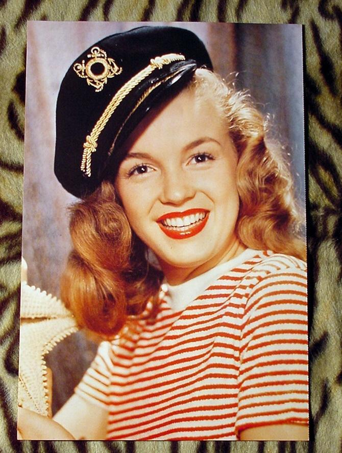 Marilyn Monroe 11X16 Pin-up Poster Norma Jean in Coast Guard Hat Sexy Red Lips!