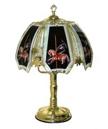 Merry Go Round Carousel Horse Glass Panel Polished Brass Finish Touch La... - $40.99