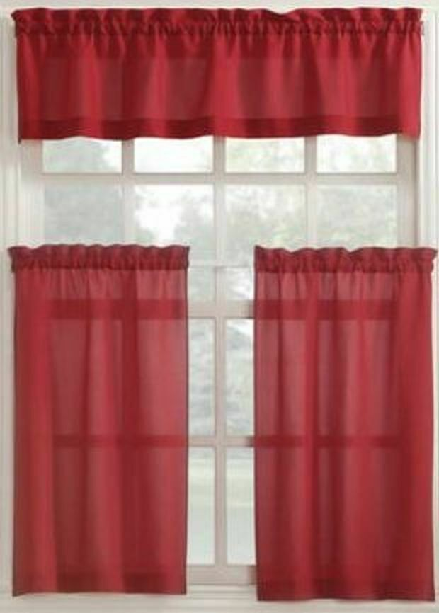 "Primary image for 3 Pc. Curtains Set: 2 Tiers (27"" x 36"") & Valance (54"" x 14"") RED COLOR, MS"