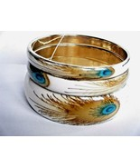 Set Of 3 Gold Tone Peacock Feather Print Bangle Bracelets New With Tag - $19.75
