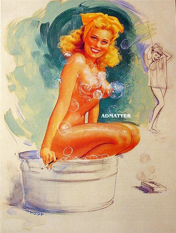 Pin-up Girl Poster T.N. Thompson 8X10 Blonde in Tub!