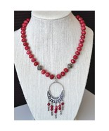 Statement necklace, gemstone necklace, red ruby necklace, sterling silver (918) - $96.00