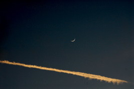 Jetstream with Fingernail Moon  8x12 Photograph - $99.00