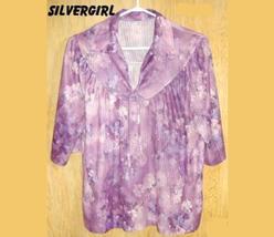 Vintage Polyester Purple Blue Pink Flower Blouse SZ 18 - $9.99
