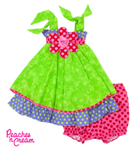 Girls Peaches n' Cream Lime, Hot Pink & Purple Summer Dress  - $58.00