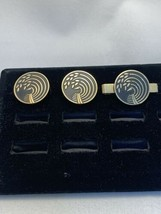 Vintage Swank Gold Tone And Black Wheat Pattern Tie Bar And Cufflinks (1... - $10.00