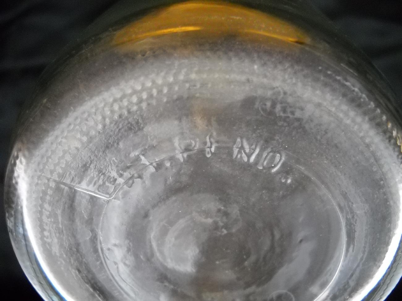VINTAGE CLEAR GLASS CARAFE - SINCE 1852 - PAT. PEND. - 7 AF - BUTTON JAR BOTTLE