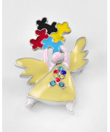 Angel Shaped Autism Puzzle Brooch Multicolor Epoxy & Rhinestones Rodiumi... - $15.00