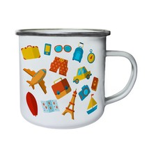 New Summer Travel Elements Retro,Tin, Enamel 10oz Mug l814e - $13.13