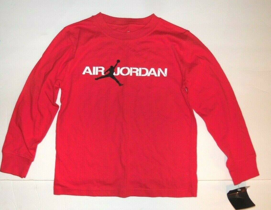Primary image for Air Jordan Boys Long Sleeve Red T-Shirt with Jumpman Logo Size 6 NWT