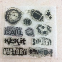 Game On D1517 Stamp Set CTMH Close to My Heart Football Soccer Basketbal... - $9.78