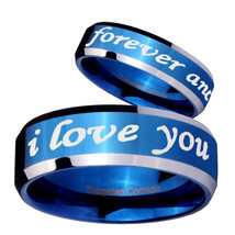 I love you forever and ever 8mm Blue Beveled Tungsten Ring - $39.99