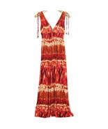 Bisou Bisou Womens Sun Dress Long Maxi Size 12 Orange Brown Tie Dye Boho - $39.55