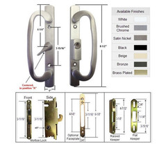 Patio Door Handle Kit Mortise Lock & Keepers, A-Position, Brushed Chrome... - $75.19