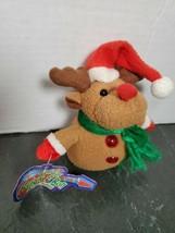 Vintage Holiday Rock N Roll Rudolph Plush Christmas Keychain - $12.86