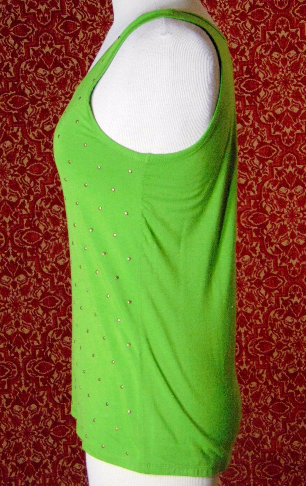 ETOILE green 2 piece stretch rayon tank blouse & sweater jacket M (T47-02I8G) image 9