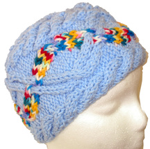 Child's blue hand knit hat with multi-color cable - $22.00
